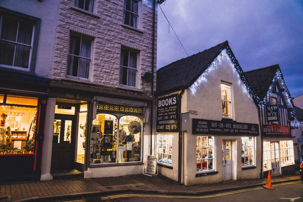 bookshops at dusk in Hay-on-Wye, the book town of Wales