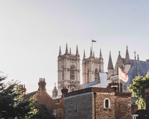 Jewel tower and English Heritage flag, Palace of Westminster