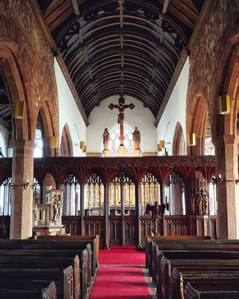 Kenn Church Interior depicting the Rood Screen and altar
