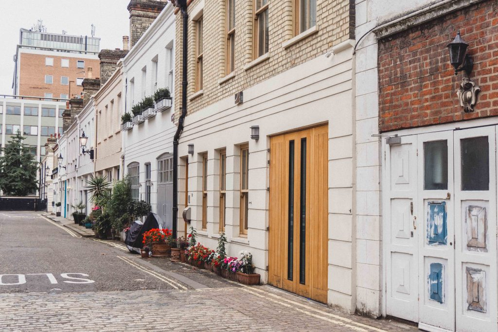 Mews street in London side view, England