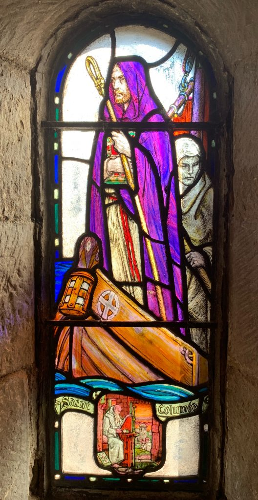 Stained glass of St Columba by Douglas Strachan at St. Margaret's Chapel, Edinburgh Castle