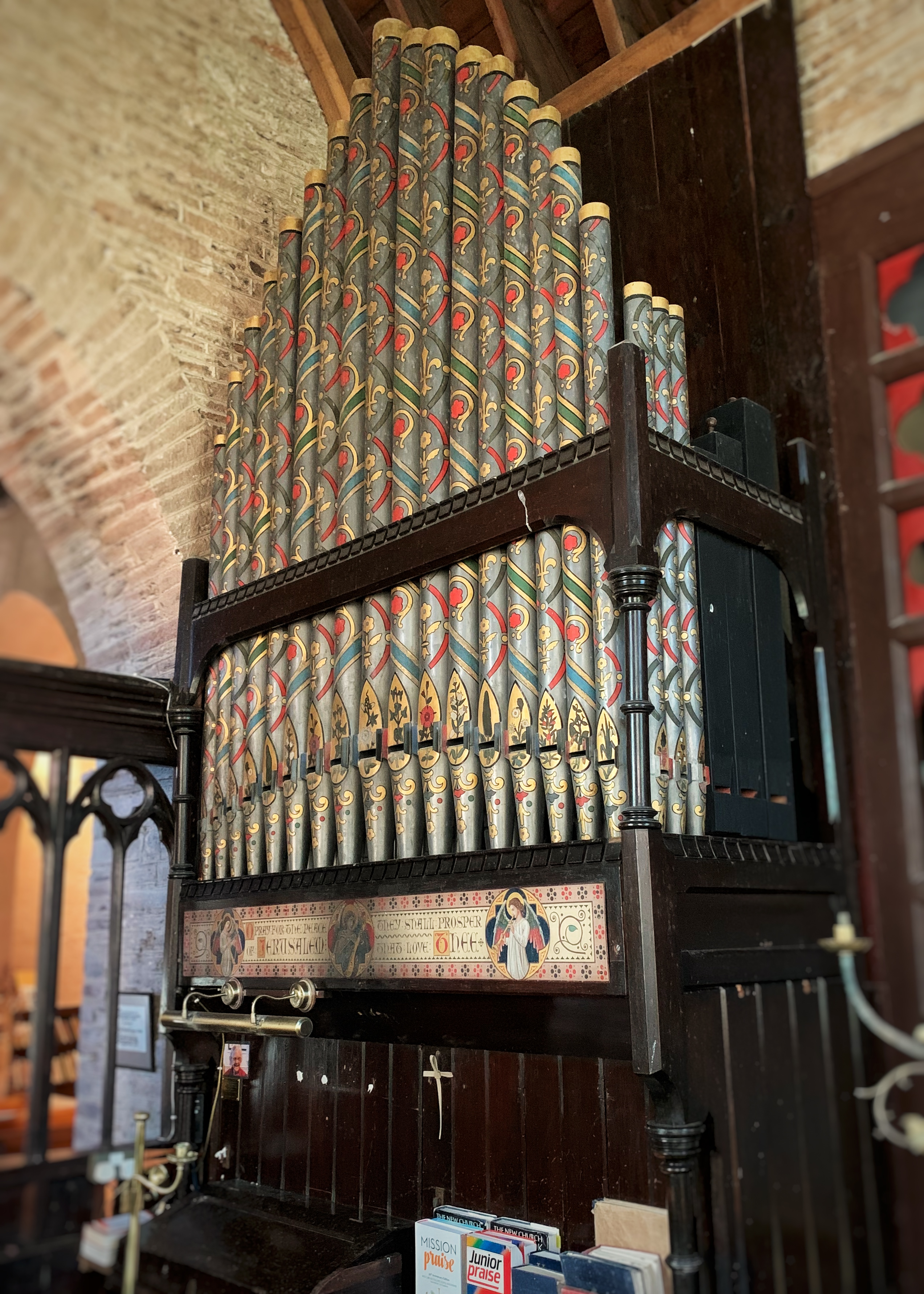 Decorative organ in the Church of All Hallows at Ringmore Village in the South Hams, Devon