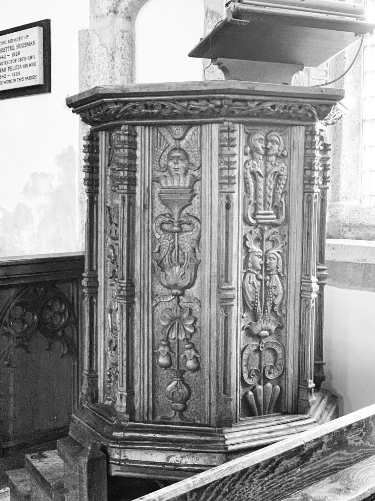 16th century pulpit at the Church of St Mary the Virgin, Cheriton Bishop, Devon