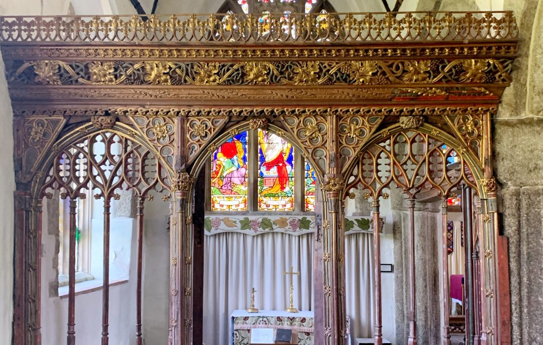 Late 15th century rood screen at the Church of St Mary the Virgin, Cheriton Bishop