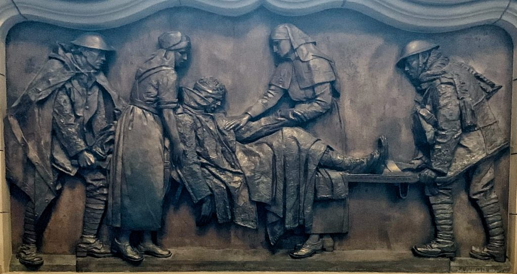 Bronze relief by Alice Meredith Williams at the Scottish National War Memorial