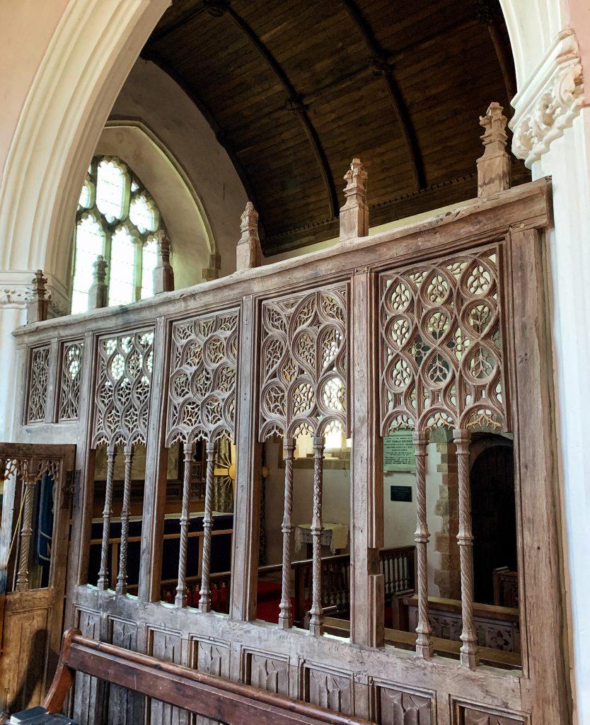 Parclose screen at Colebrooke Church, mid-Devon
