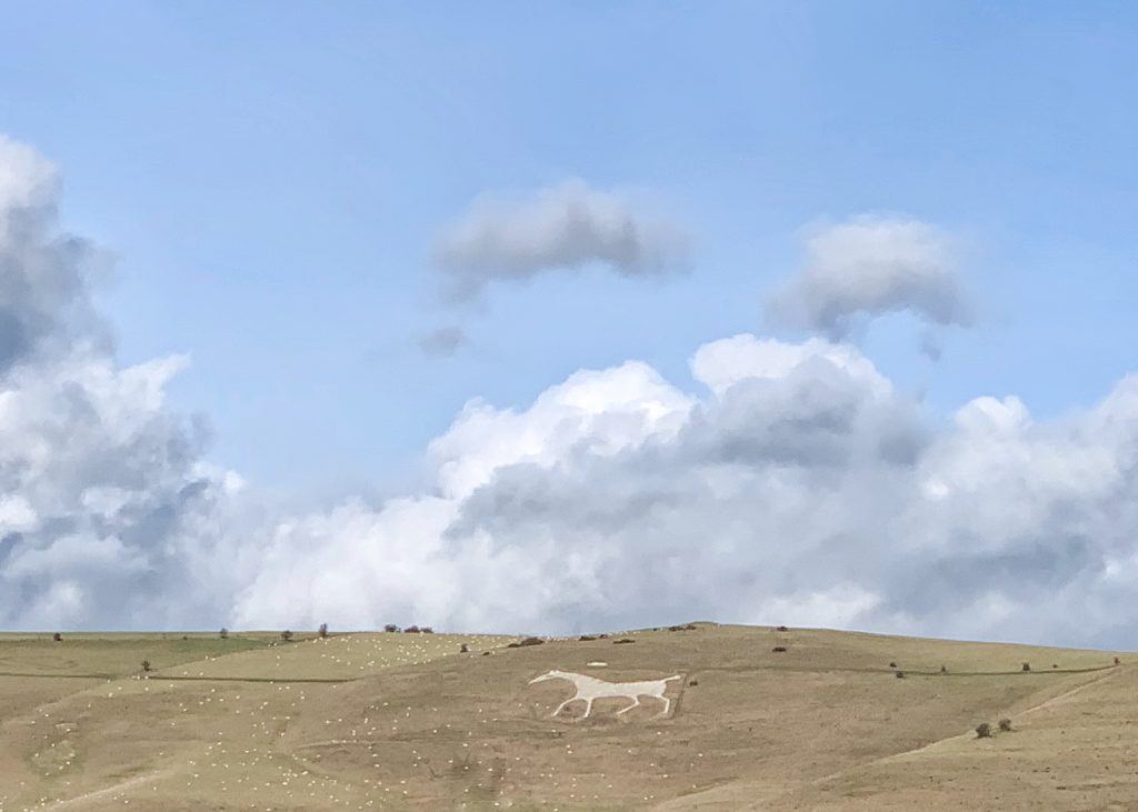 The 1812 White Horse on Milk Hill at Alton Barnes in the Vale of Pewsey, Wiltshire