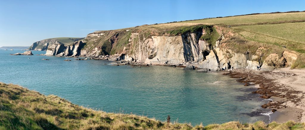 Panoramic view of Ayrmer Cove, near Ringmore, the South Hams, Devon