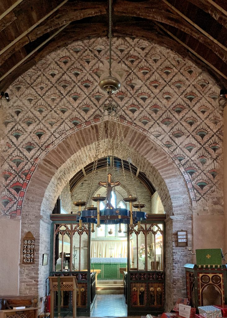 Medieval Mural on the Chancel Arch at All Hallows' Church in the village of Ringmore, the South Hams, Devon