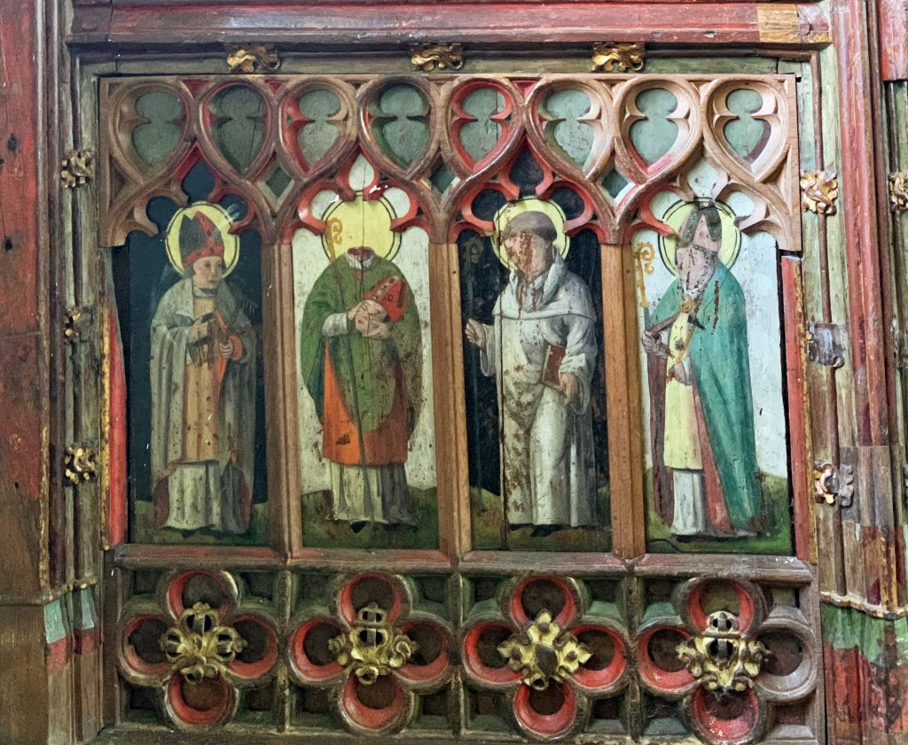 Painted panel from the Rood Screen at the Church of St Mary the Virgin, Cheriton Bishop, Devon