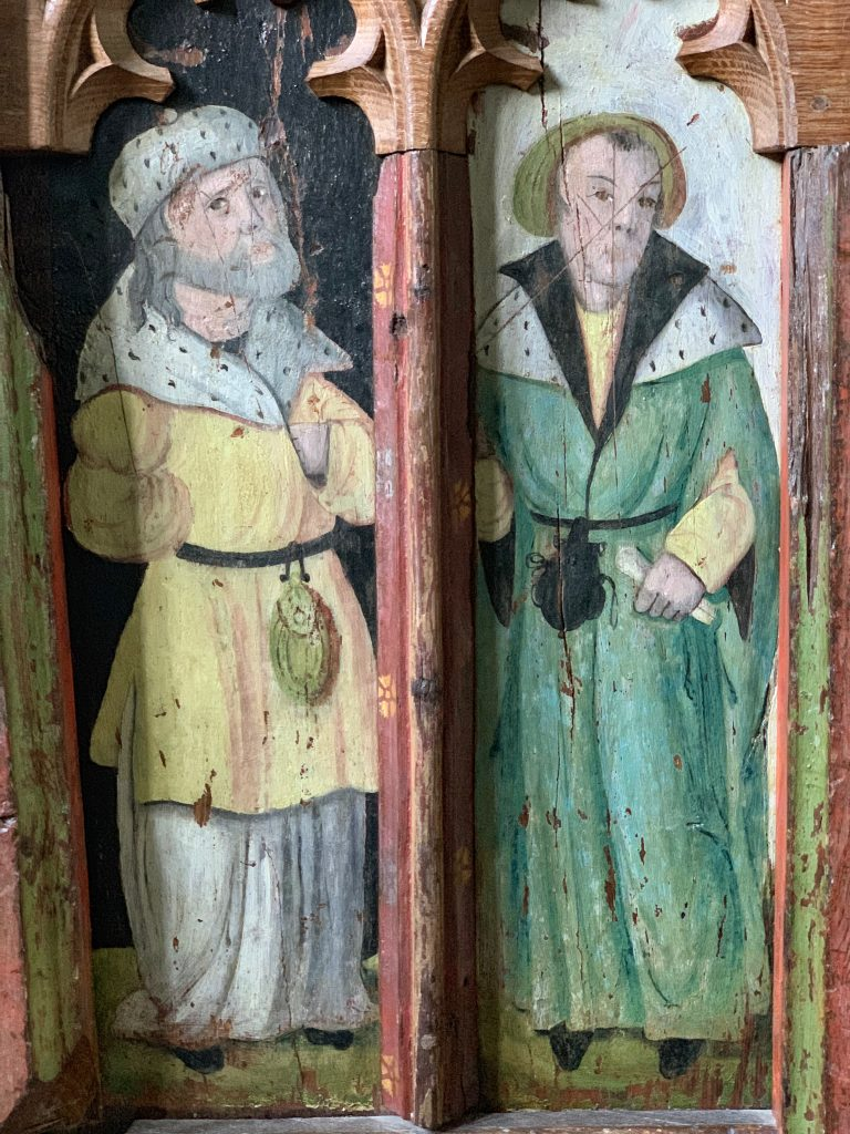 Painted figures from the Rood Screen at the Church of St Mary the Virgin, Cheriton Bishop, Devon
