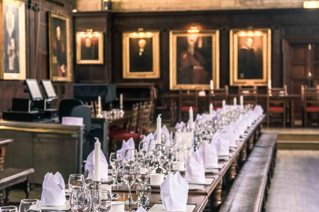 oxford Balliol College dining hall set up for a formal dinner