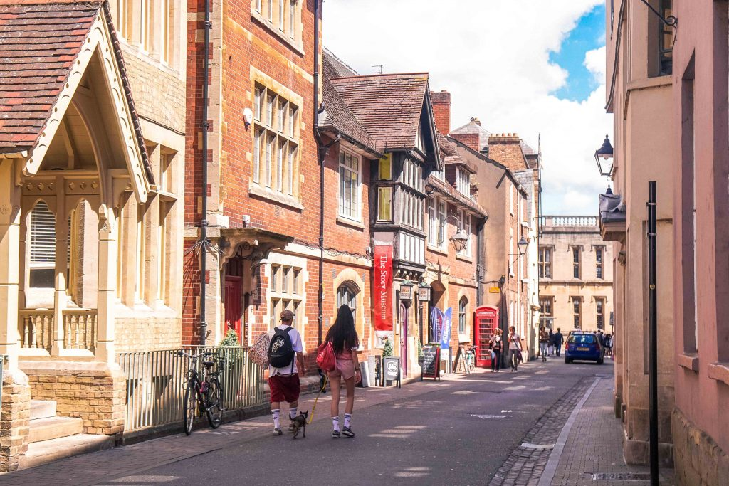 oxford Storybook museum and street with blue skies
