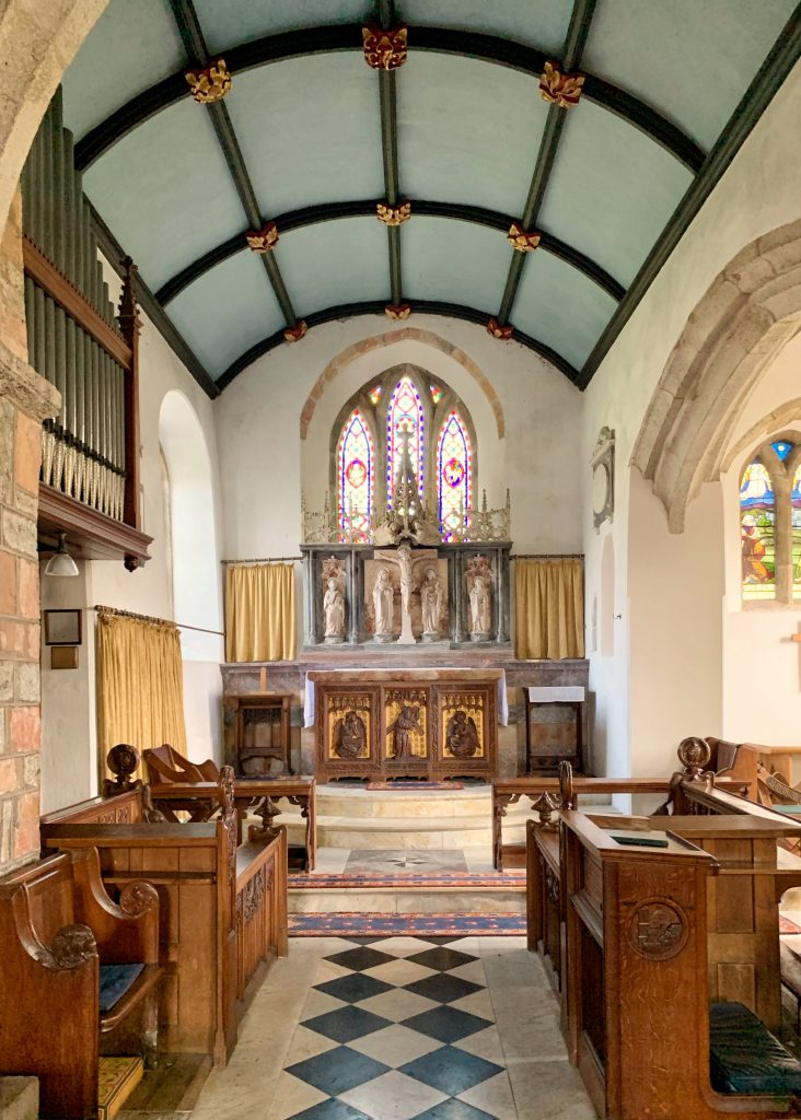 View of the chancel at St. Peter's Church in the village of Meavy, Devon