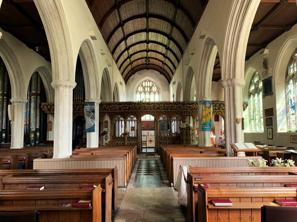 Interior of Bovey Tracey Church in Devon