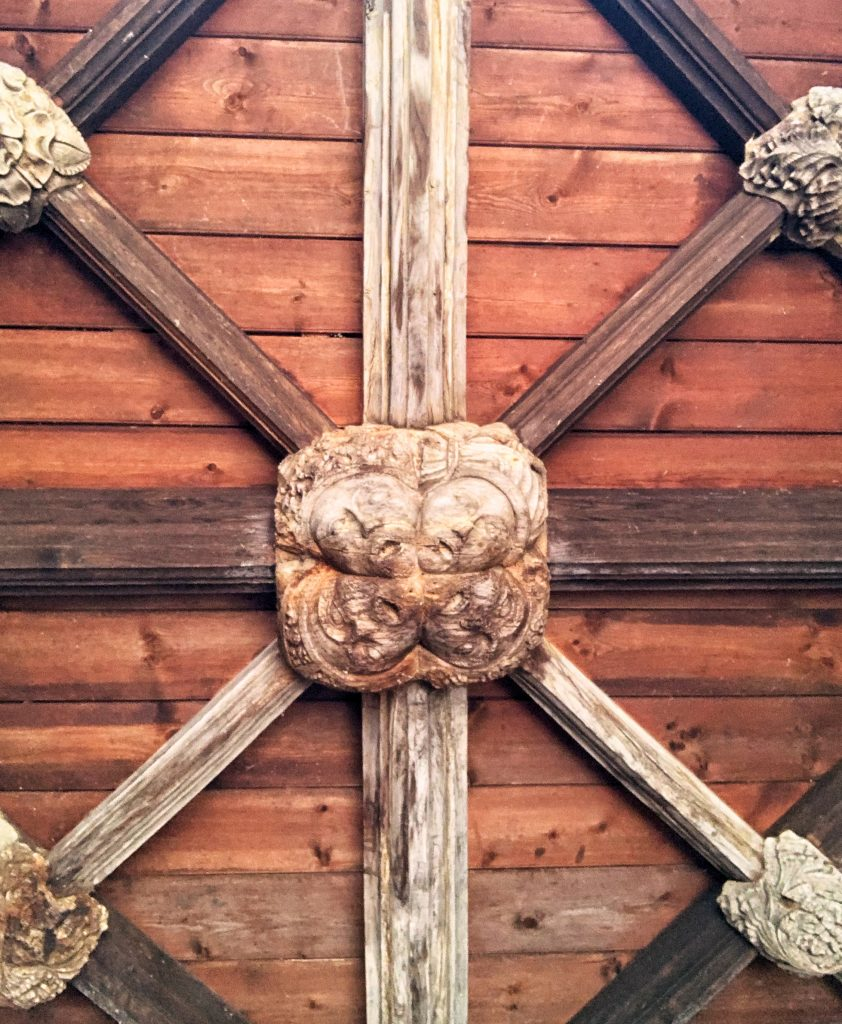 Ceiling Boss in the Porch at Bovey Tracey Parish Church in Devon