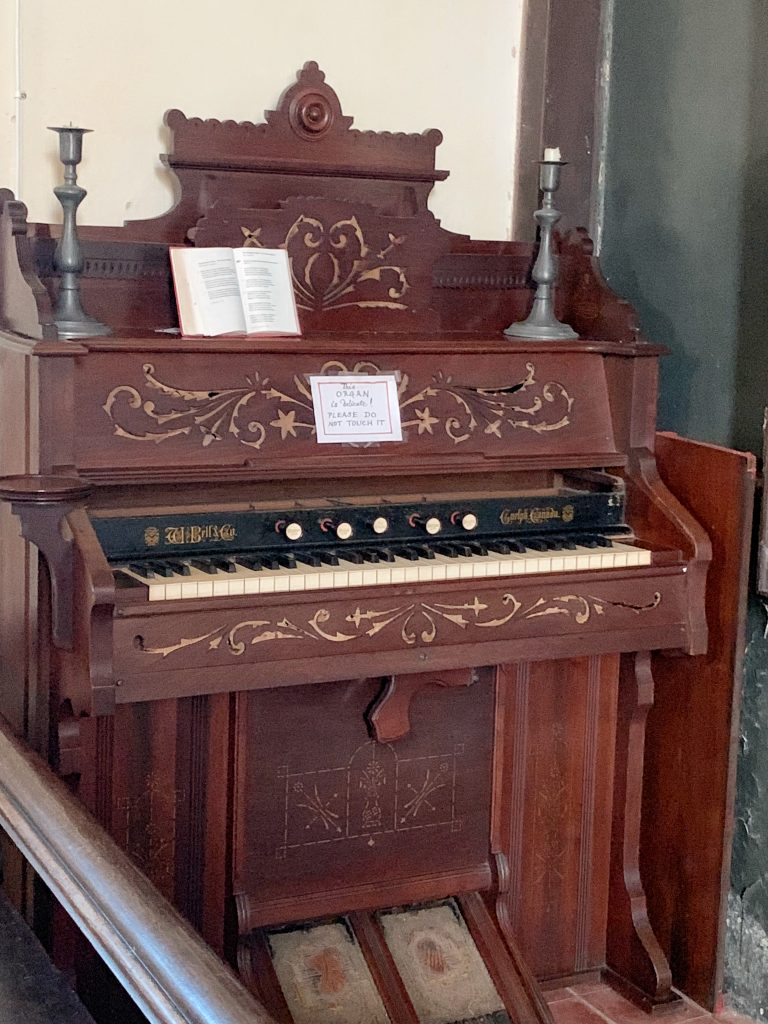 Organ at the memorial to John Graves Simcoe, Wolford Chapel near Dunkeswell in Devon