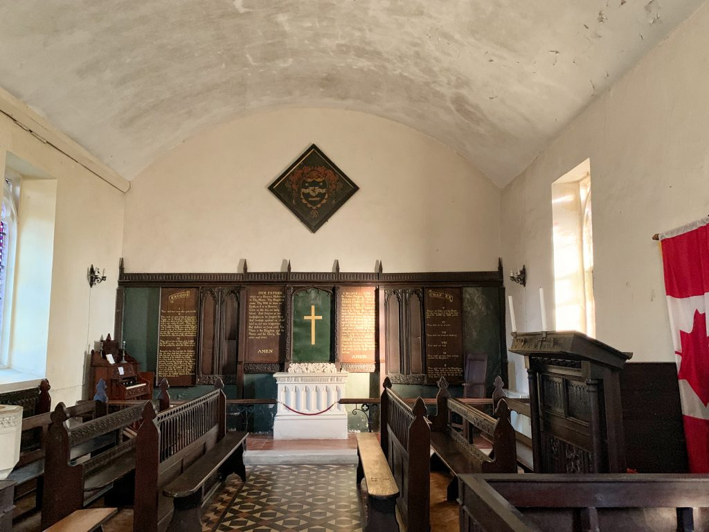 Interior of Wolford Chapel which is a memorial to John Graves Simcoe and is found near Dunkeswell in Devon