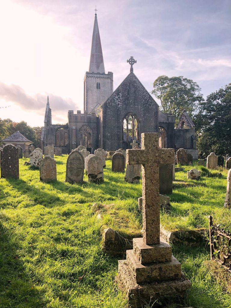 View of Buckfastleigh Church and Graveyard in Devon