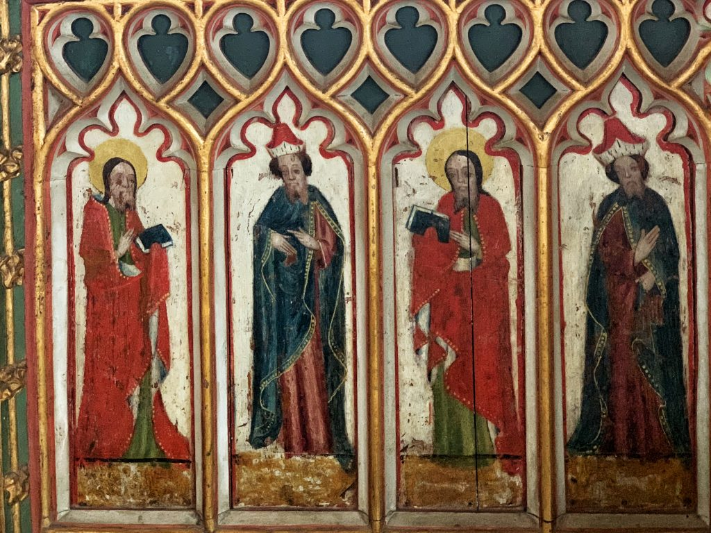 Detail of Saints painted on the Chancel Screen at Bovey Tracey Church in Devon