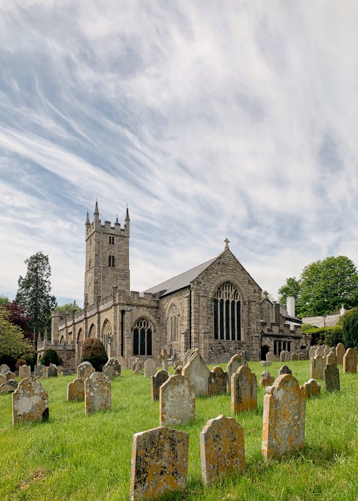 View of the Church of St Peter, St Paul and St Thomas of Canterbury in Bovey Tracey, Devon