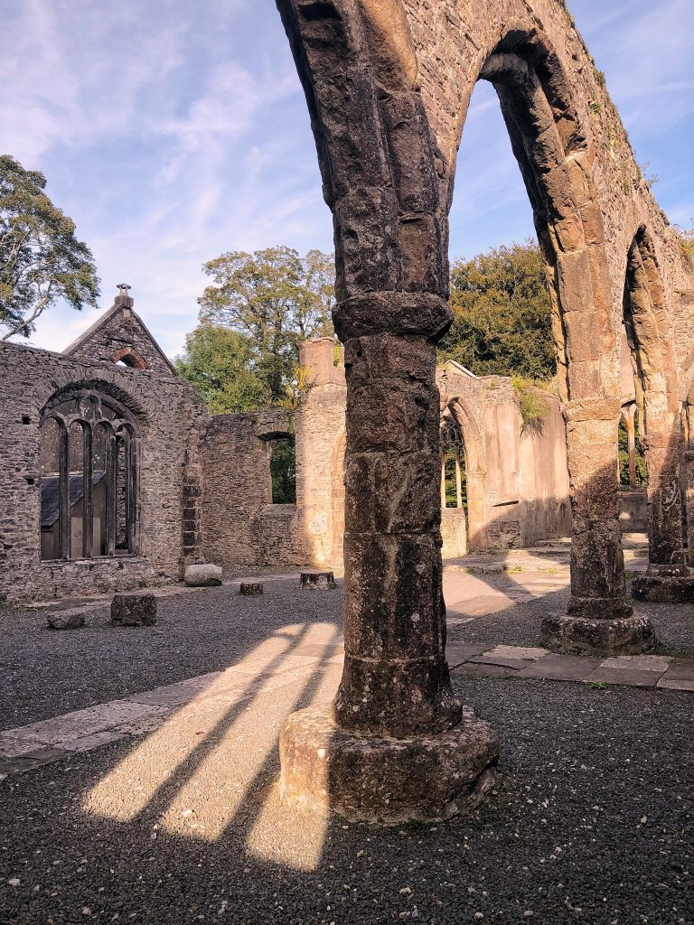 The ruins of Trinity Church at Buckfastleigh in Devon