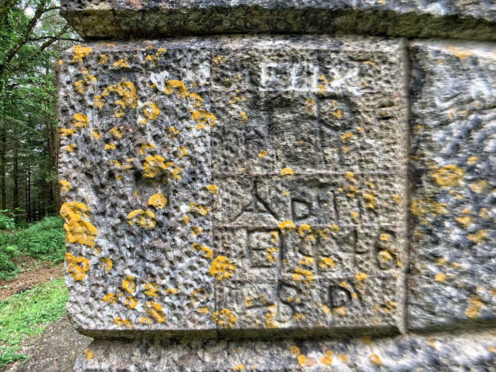 Graffiti on Obelisk in Haldon Forest near Exeter, Devon