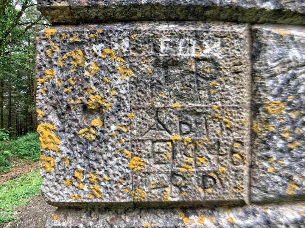 Graffiti on Obelisk in Haldon Forest near Exeter, Devon