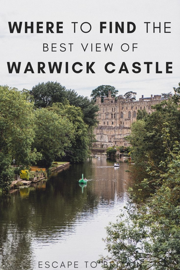 Warwick castle and river avon with text