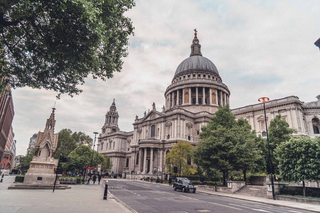 St Paul's Cathedral exterior on a cloudy day in London, England