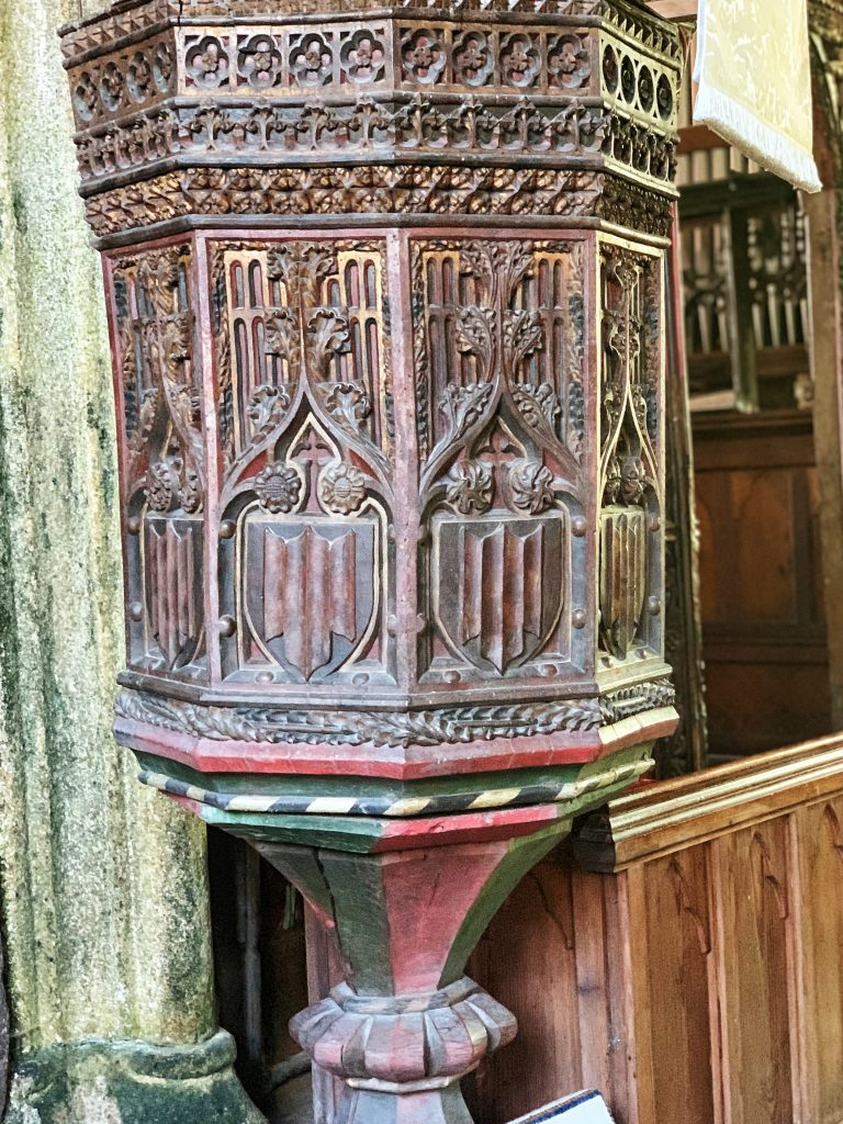 Late 15th/early 16th century pulpit at Chivelstone Church in the South Hams, Devon