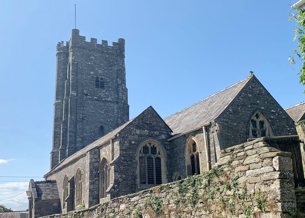 Exterior of St. Sylvester's Church at Chivelstone Village in the South Hams, Devon