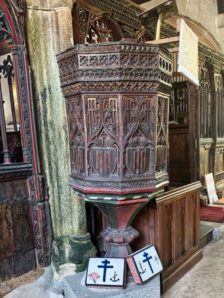 Pulpit at Chivelstone Church in the South Hams, Devon