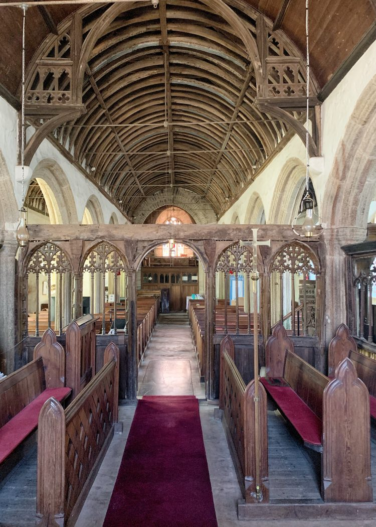 Interior of St. Sylvester's Church at Chivelstone in Devon