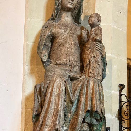 14th Century wooden sculpture of the Virgin Mary at Kingston Deverill in Wiltshire