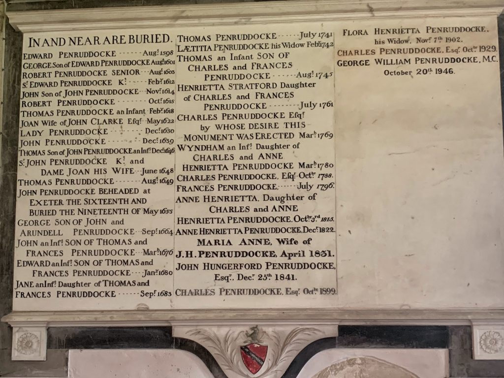 Memorial to the Penruddock family in Compton Chamberlayne Church in Wiltshire