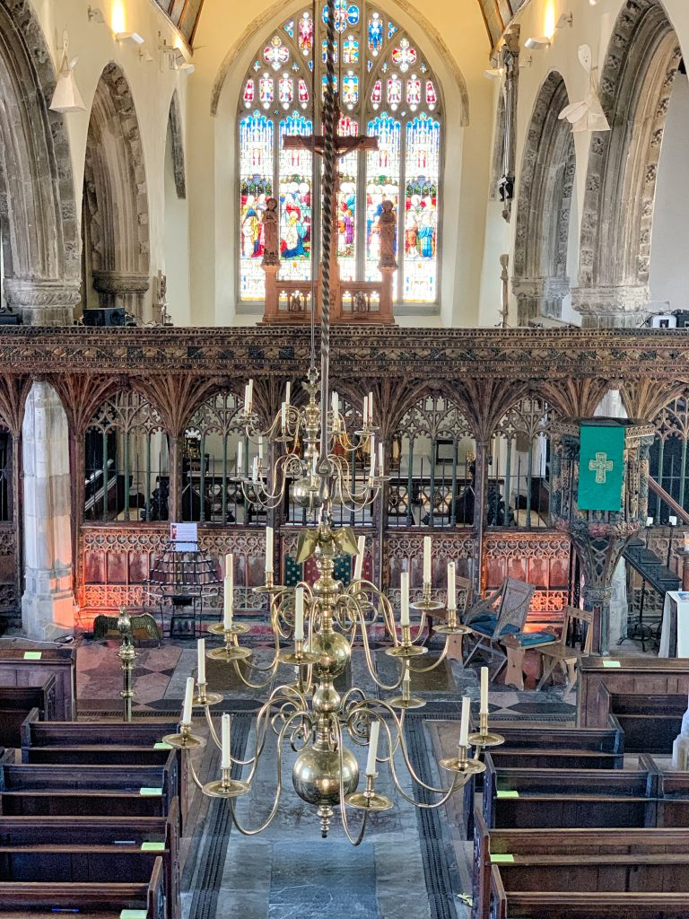 View of the Rood Screen and Chancel in the Church of St. Saviour in Dartmouth, Devon