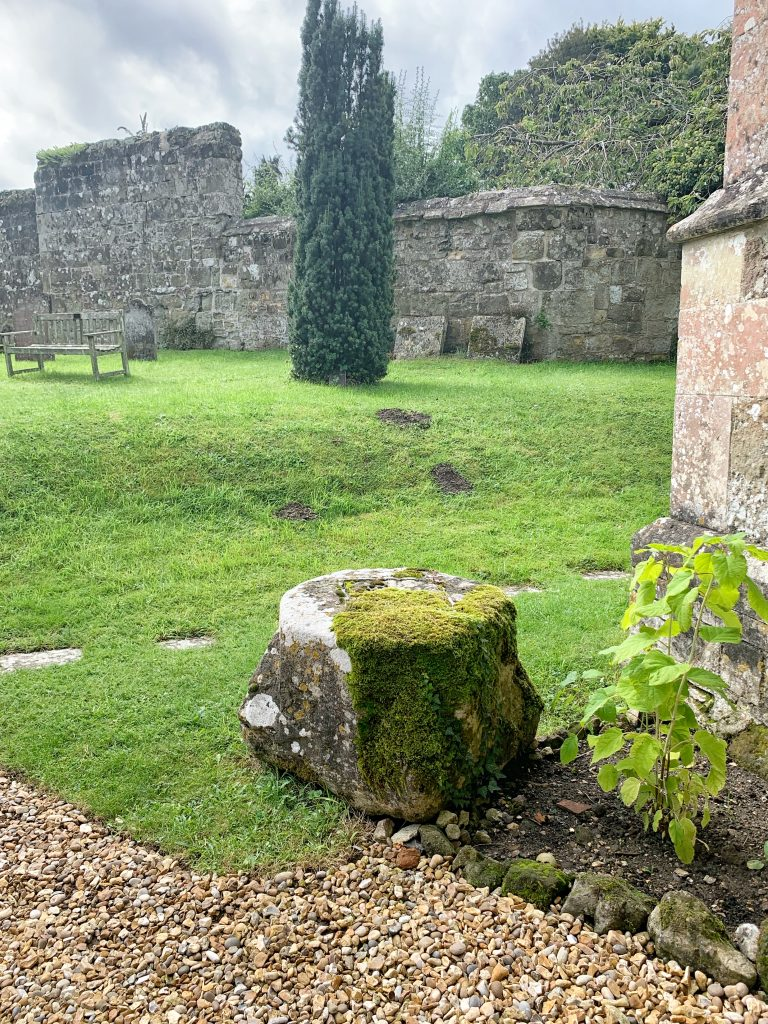 Base of a medieval Churchyard cross at Compton Chamberlayne Church in Wiltshire