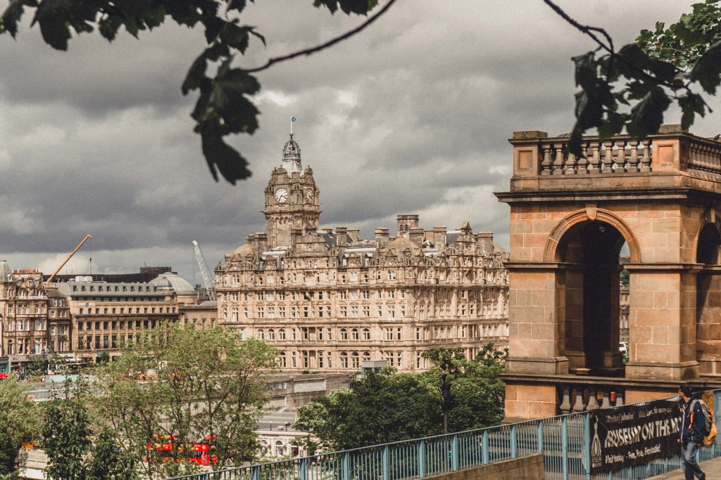 view of the Balmoral Hotel from Princes Park Edinburgh Scotland