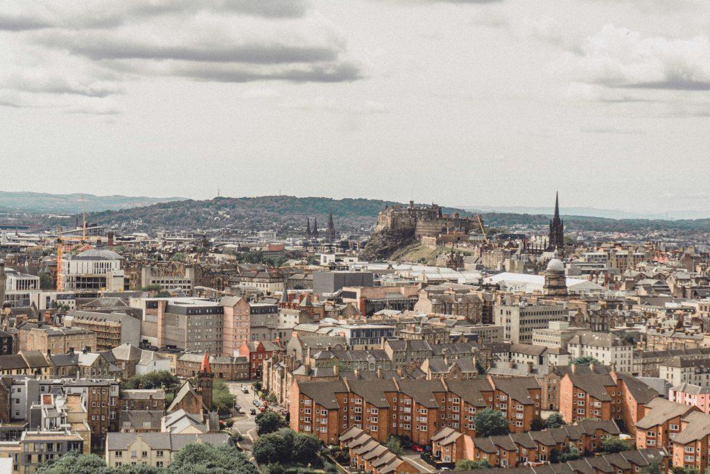 view of Edinburgh castle in Scotland Europe