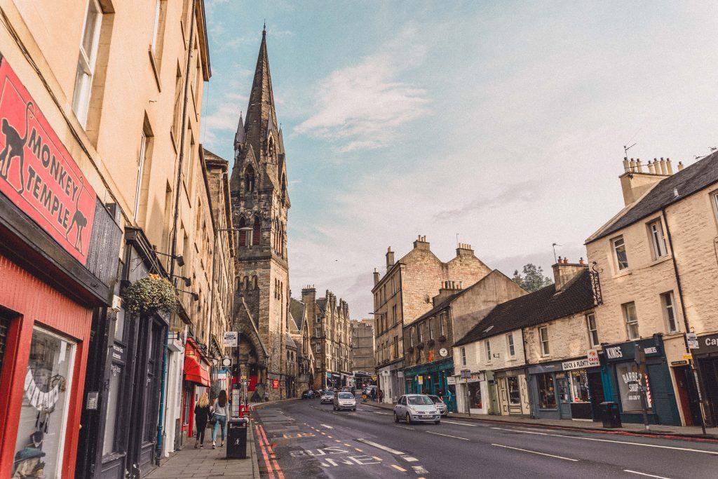pretty street in Edinburgh Scotland