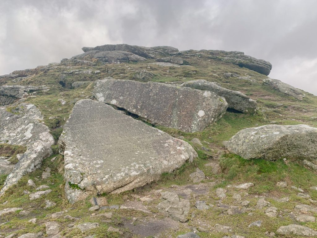 Buckland Beacon with the Ten Commandments Stones in the foreground