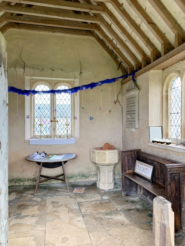 Interior of Bremilham Church - The smallest church in England