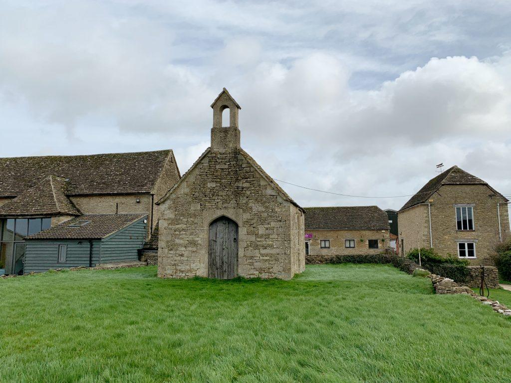 Bremilham Church on a grassy bank at Cowage Farm, near Malmesbury