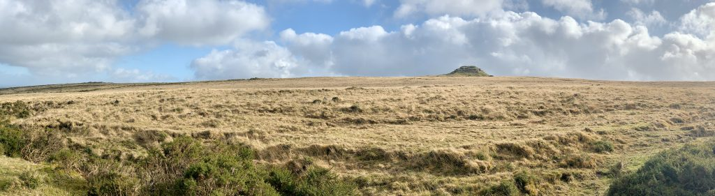 Panoramic view of Chagford Common ands Kestor Rock