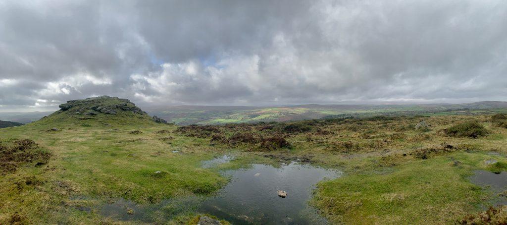 Panoramic view near the Ten Commandments Stones on Dartmoor